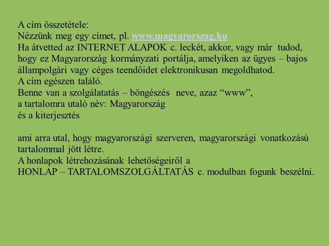 A cím összetétele: Nézzünk meg egy címet, pl. www.magyarorszag.hu.