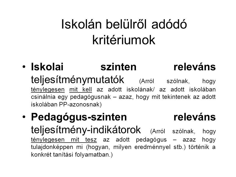 Iskolán belülről adódó kritériumok