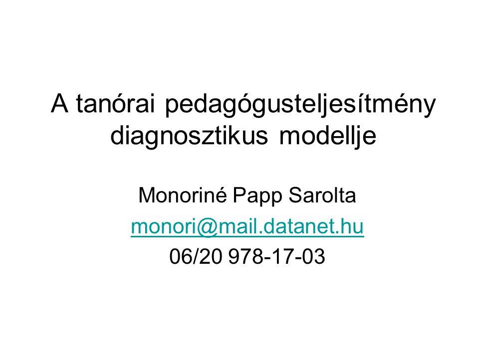 A tanórai pedagógusteljesítmény diagnosztikus modellje