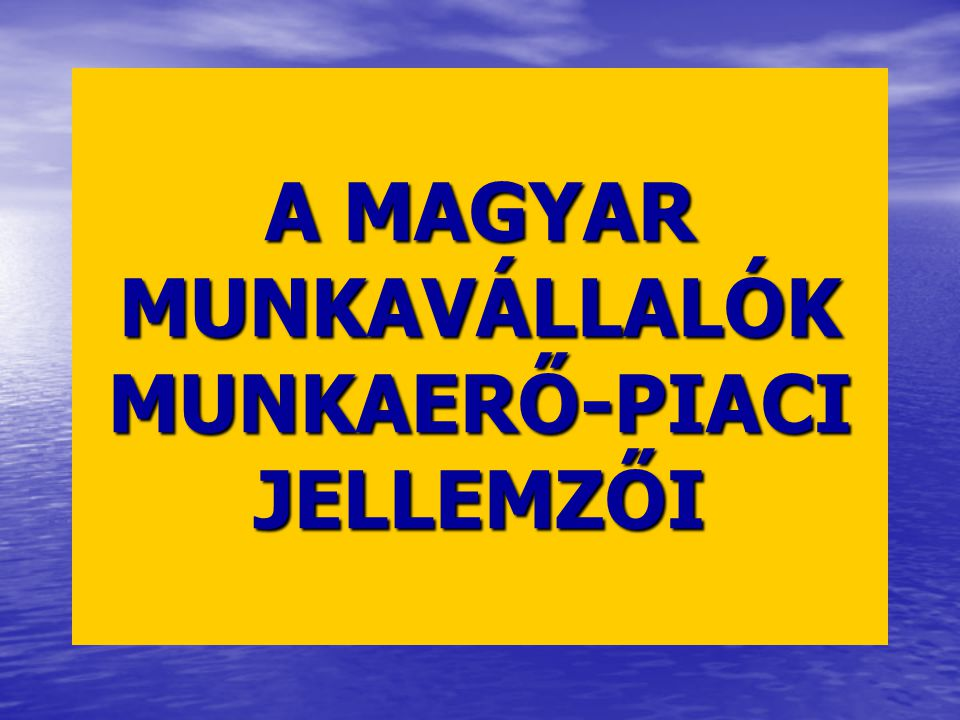 A MAGYAR MUNKAVÁLLALÓK MUNKAERŐ-PIACI JELLEMZŐI