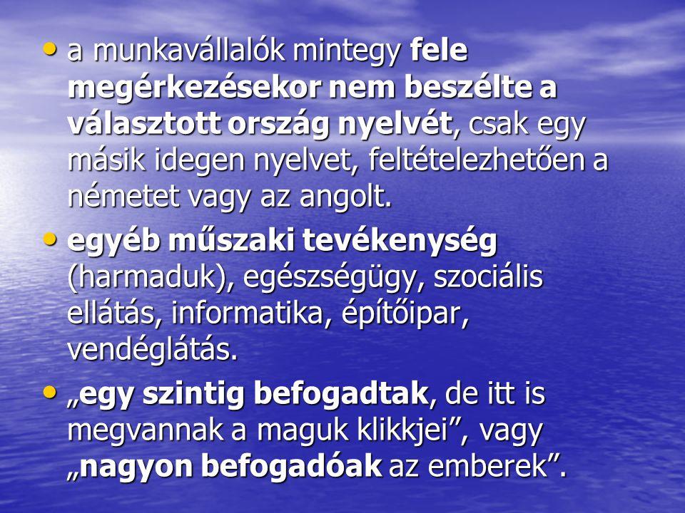 a munkavállalók mintegy fele megérkezésekor nem beszélte a választott ország nyelvét, csak egy másik idegen nyelvet, feltételezhetően a németet vagy az angolt.