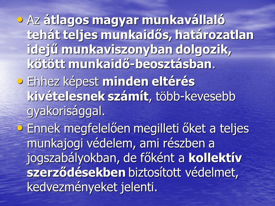 Az átlagos magyar munkavállaló tehát teljes munkaidős, határozatlan idejű munkaviszonyban dolgozik, kötött munkaidő-beosztásban.