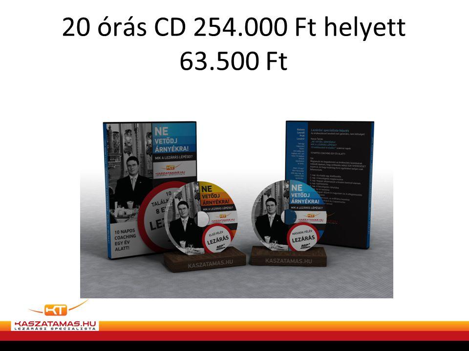 20 órás CD 254.000 Ft helyett 63.500 Ft