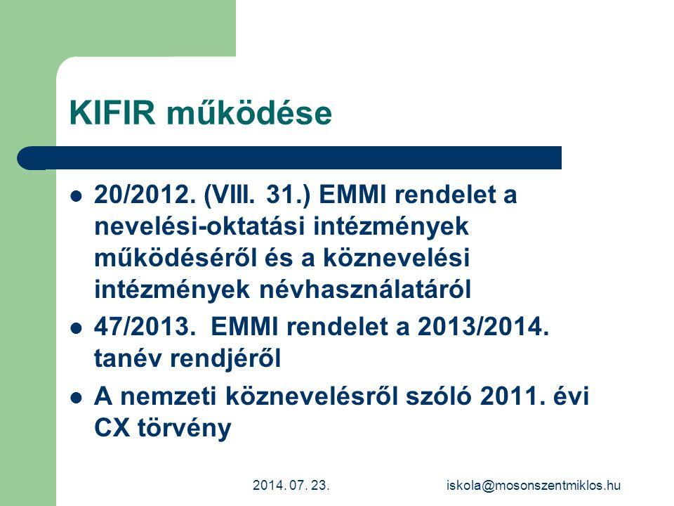 KIFIR működése 20/2012. (VIII. 31.) EMMI rendelet a nevelési-oktatási intézmények működéséről és a köznevelési intézmények névhasználatáról.