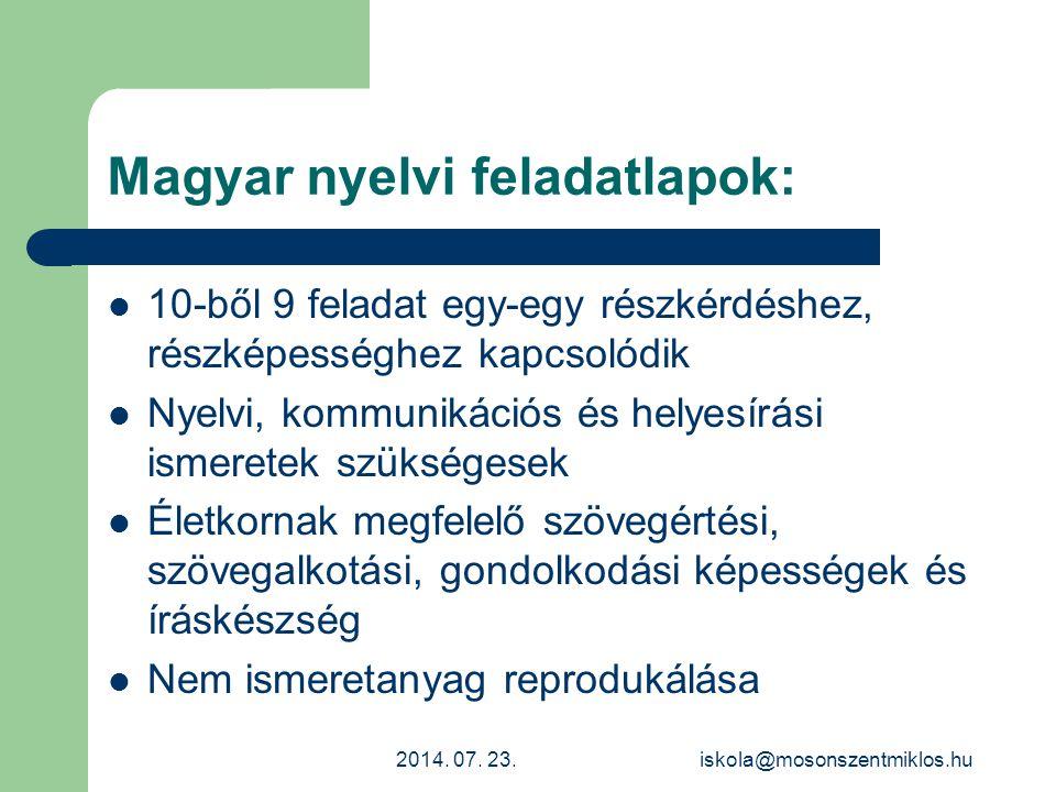 Magyar nyelvi feladatlapok:
