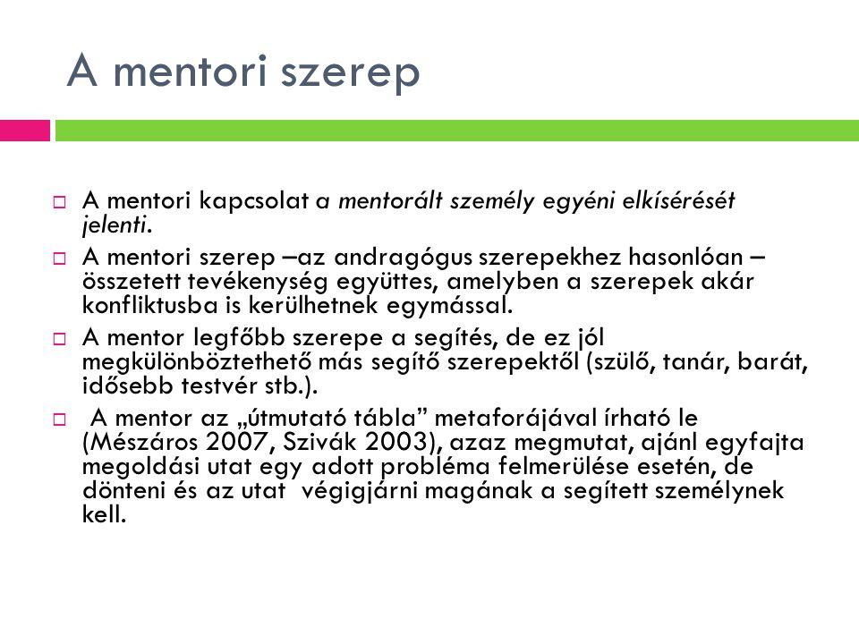 A mentori szerep A mentori kapcsolat a mentorált személy egyéni elkísérését jelenti.