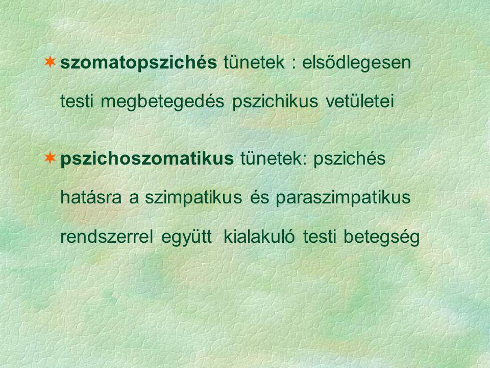 szomatopszichés tünetek : elsődlegesen testi megbetegedés pszichikus vetületei