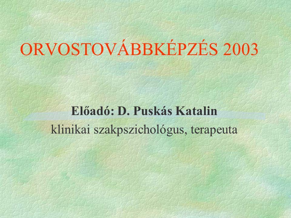 Előadó: D. Puskás Katalin klinikai szakpszichológus, terapeuta