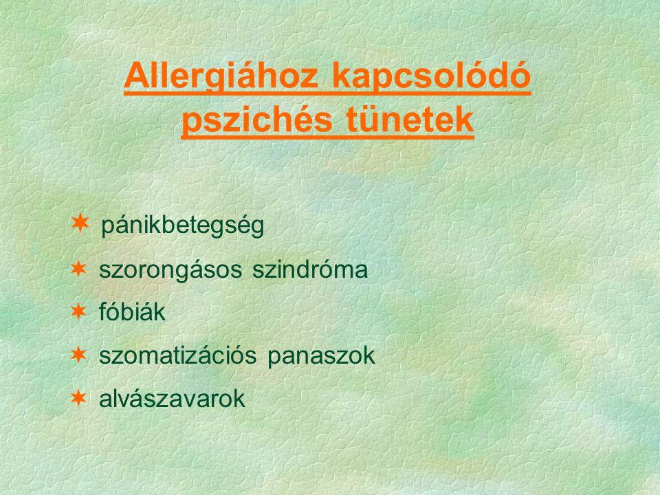 Allergiához kapcsolódó pszichés tünetek