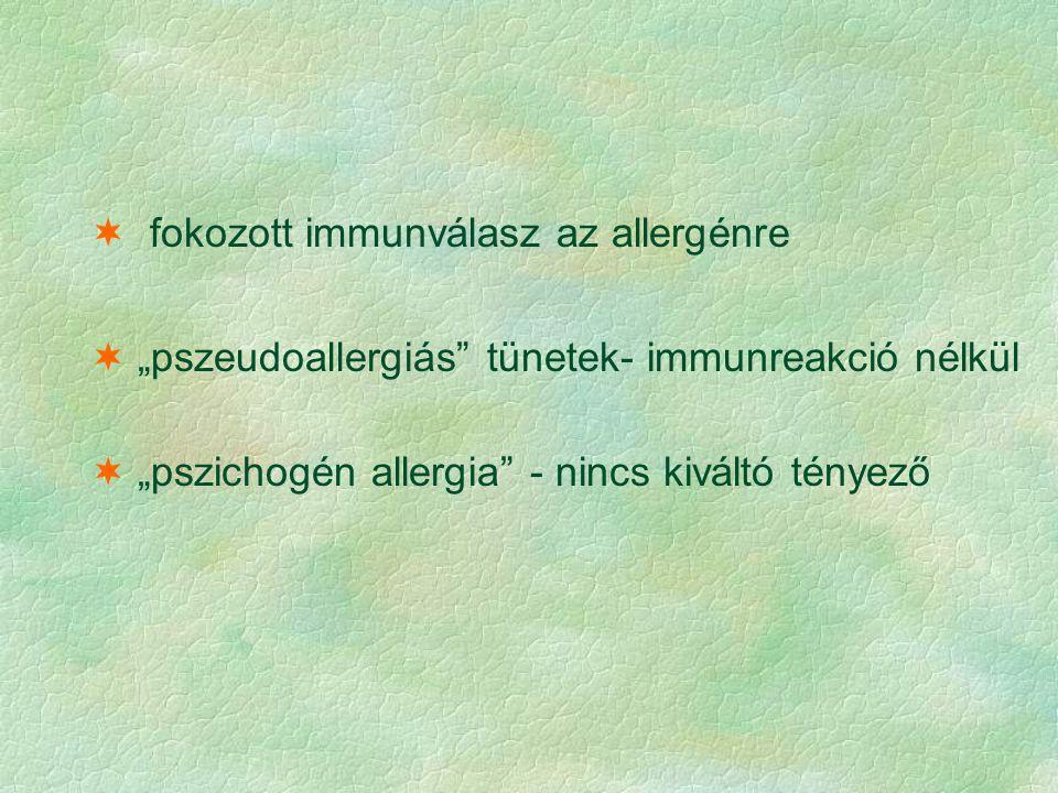 fokozott immunválasz az allergénre