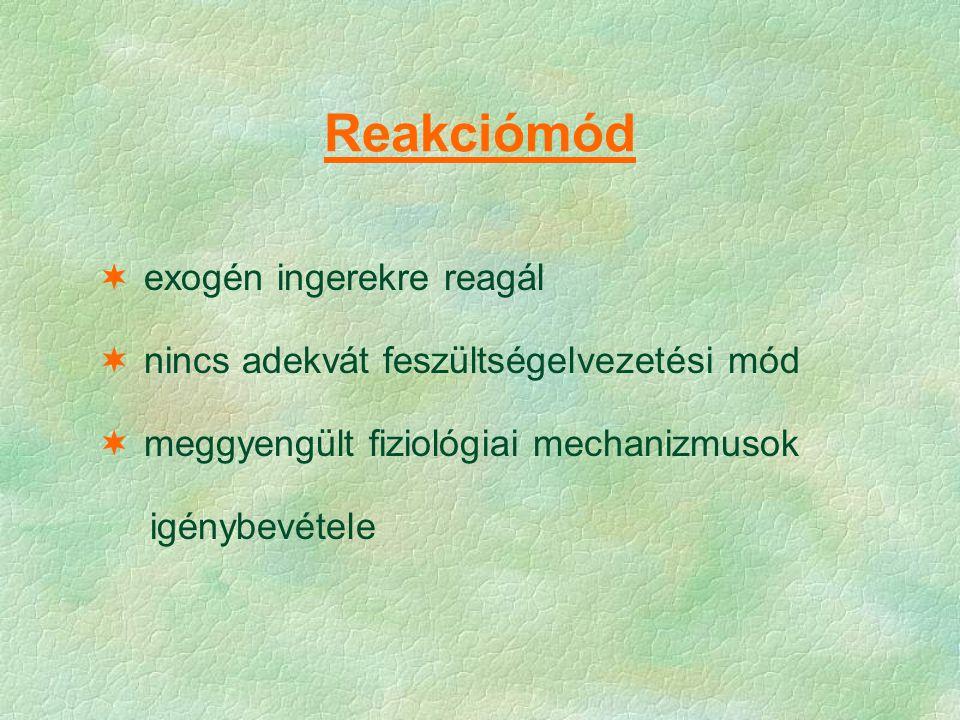 Reakciómód exogén ingerekre reagál