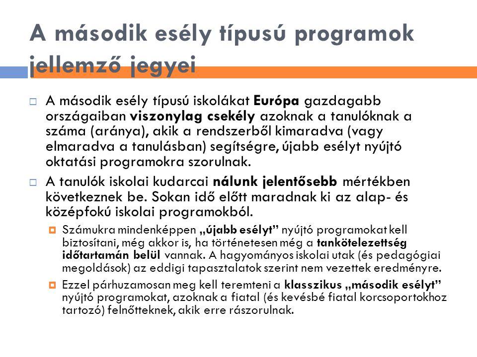 A második esély típusú programok jellemző jegyei