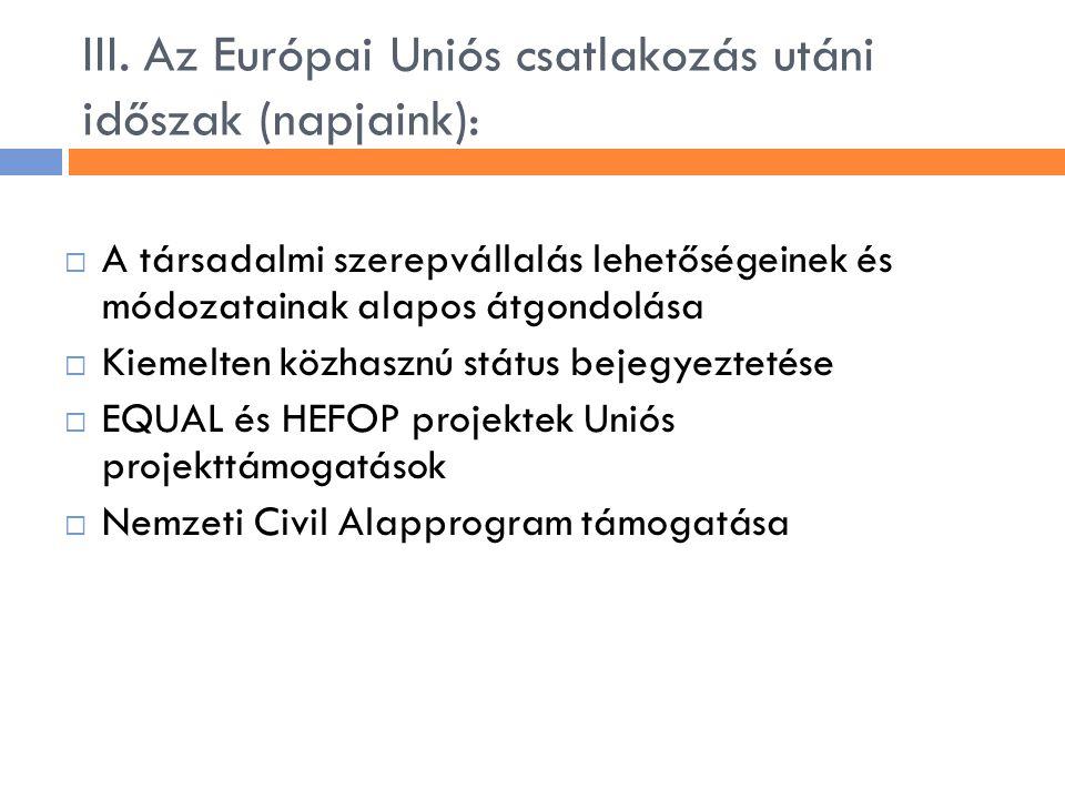 III. Az Európai Uniós csatlakozás utáni időszak (napjaink):