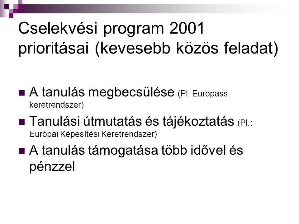 Cselekvési program 2001 prioritásai (kevesebb közös feladat)