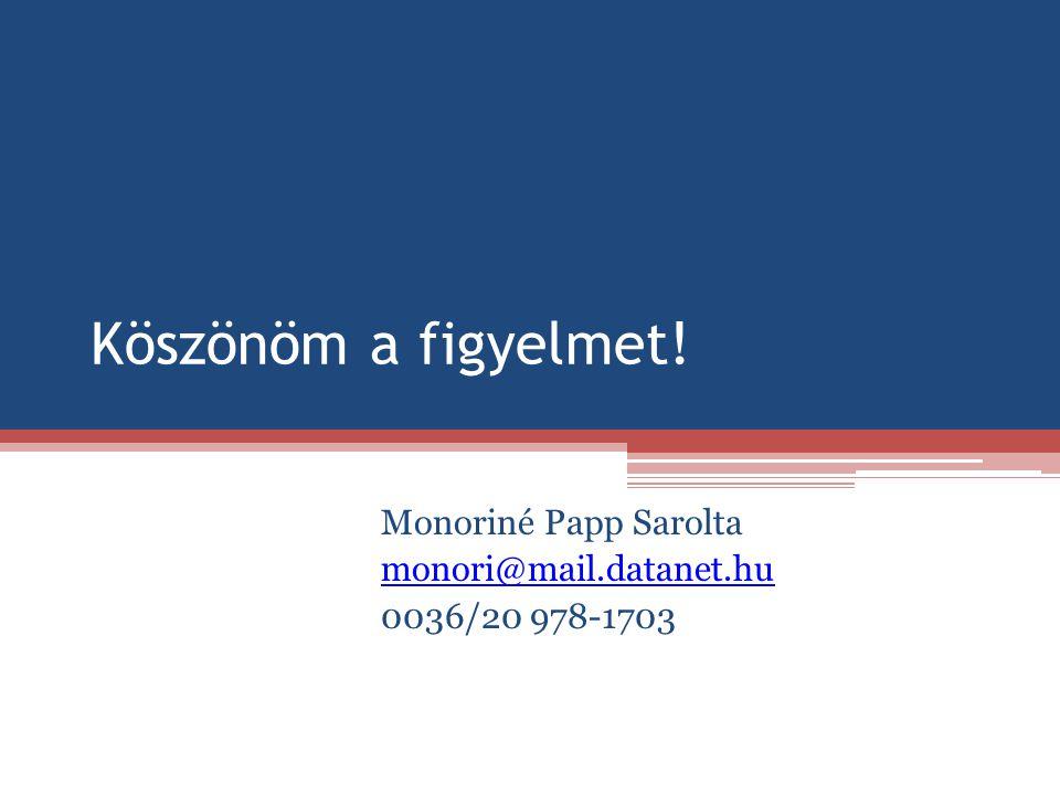 Monoriné Papp Sarolta monori@mail.datanet.hu 0036/20 978-1703