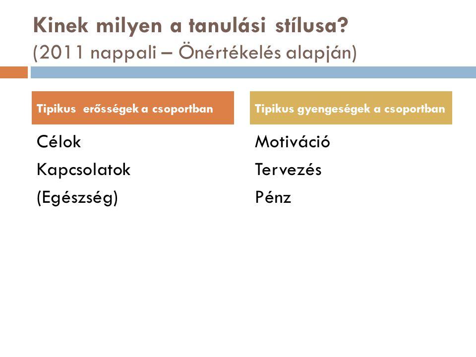 Kinek milyen a tanulási stílusa (2011 nappali – Önértékelés alapján)