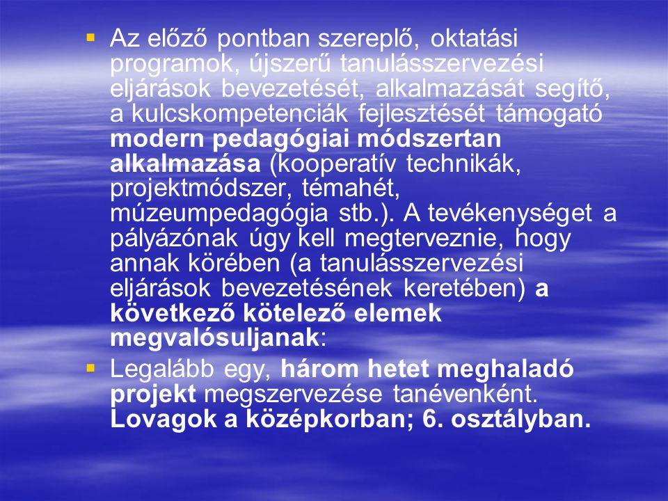 Az előző pontban szereplő, oktatási programok, újszerű tanulásszervezési eljárások bevezetését, alkalmazását segítő, a kulcskompetenciák fejlesztését támogató modern pedagógiai módszertan alkalmazása (kooperatív technikák, projektmódszer, témahét, múzeumpedagógia stb.). A tevékenységet a pályázónak úgy kell megterveznie, hogy annak körében (a tanulásszervezési eljárások bevezetésének keretében) a következő kötelező elemek megvalósuljanak: