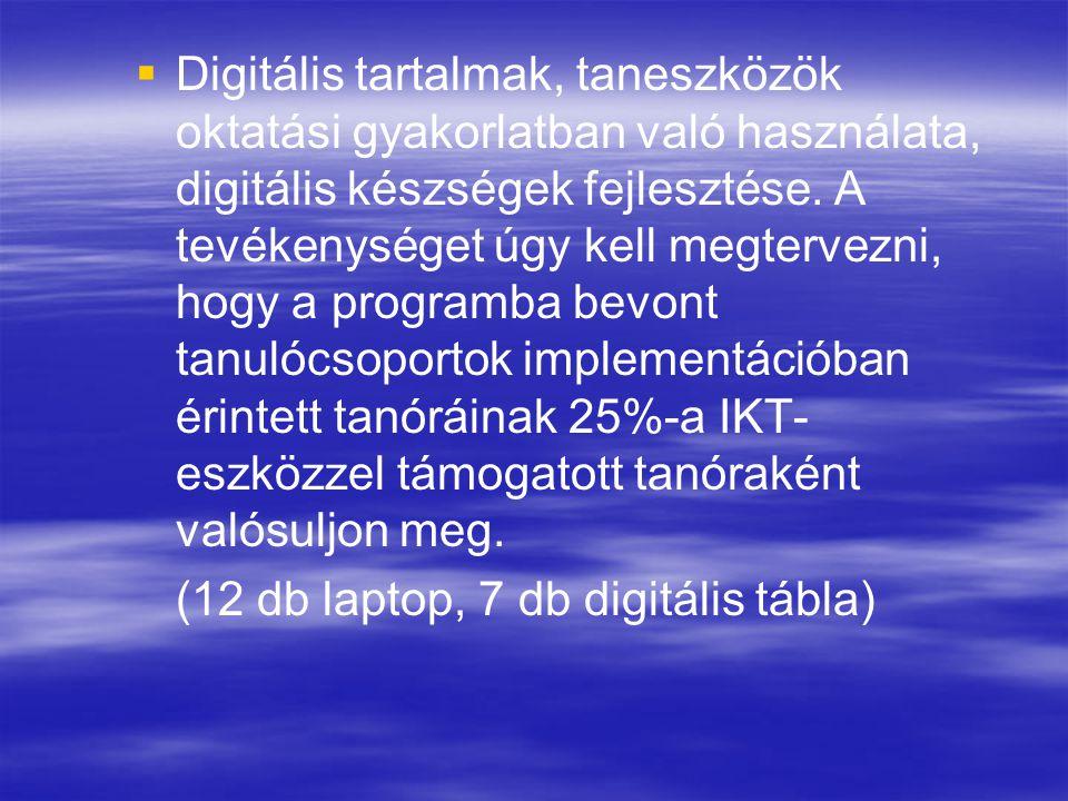 Digitális tartalmak, taneszközök oktatási gyakorlatban való használata, digitális készségek fejlesztése. A tevékenységet úgy kell megtervezni, hogy a programba bevont tanulócsoportok implementációban érintett tanóráinak 25%-a IKT-eszközzel támogatott tanóraként valósuljon meg.