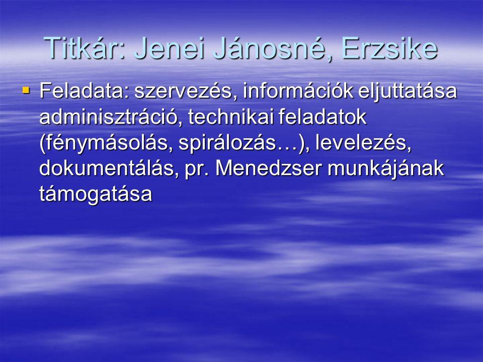 Titkár: Jenei Jánosné, Erzsike