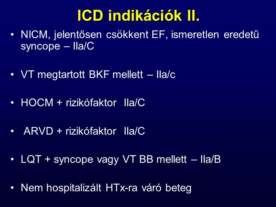 ICD indikációk II. NICM, jelentősen csökkent EF, ismeretlen eredetű syncope – IIa/C. VT megtartott BKF mellett – IIa/c.