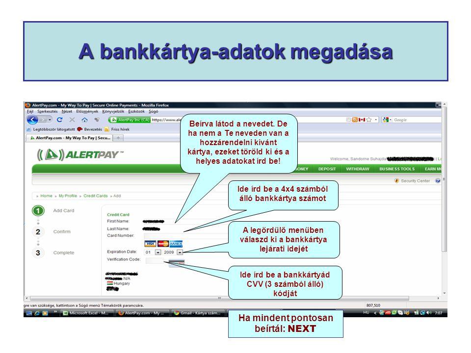 A bankkártya-adatok megadása