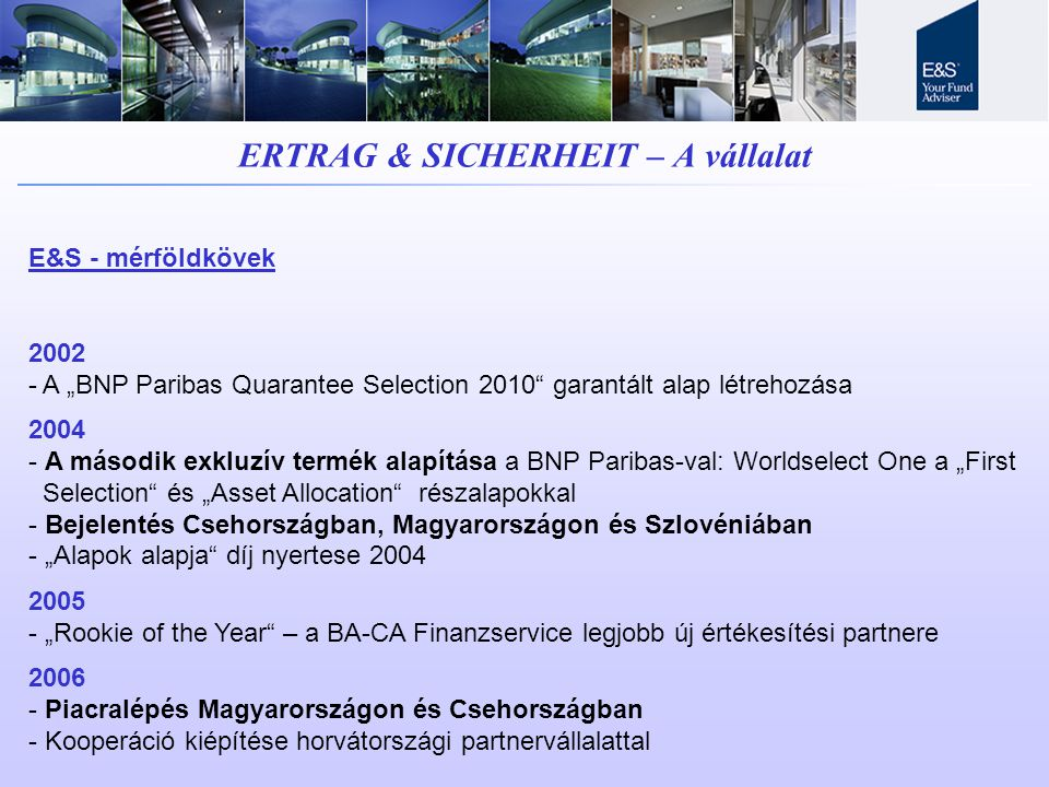 ERTRAG & SICHERHEIT – A vállalat
