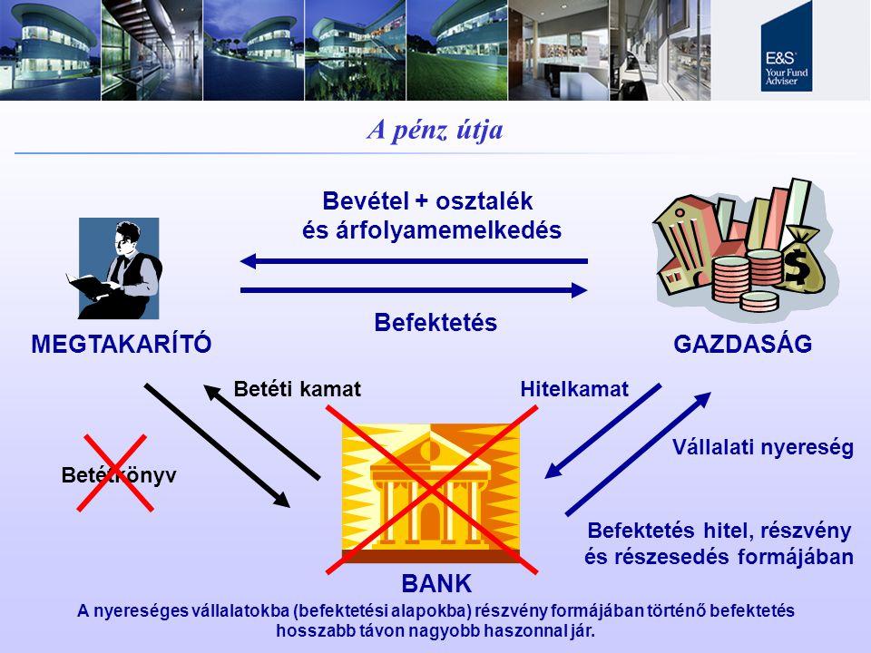A pénz útja Bevétel + osztalék és árfolyamemelkedés Befektetés