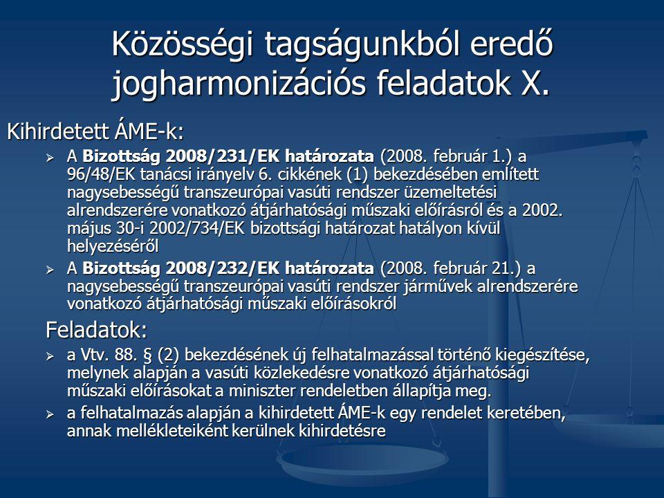 Közösségi tagságunkból eredő jogharmonizációs feladatok X.