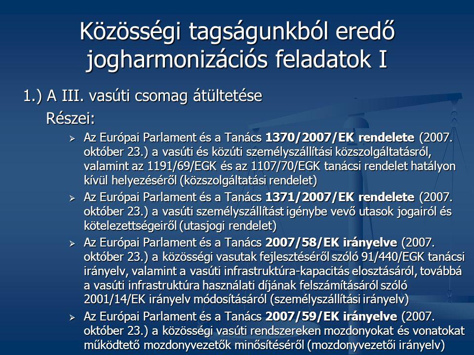 Közösségi tagságunkból eredő jogharmonizációs feladatok I
