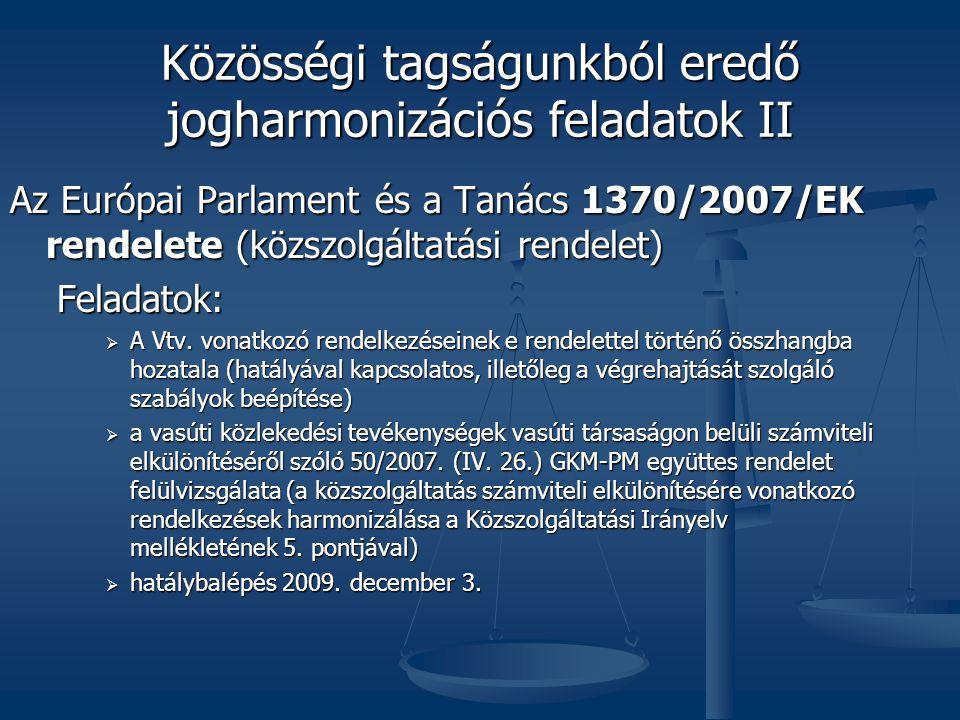Közösségi tagságunkból eredő jogharmonizációs feladatok II