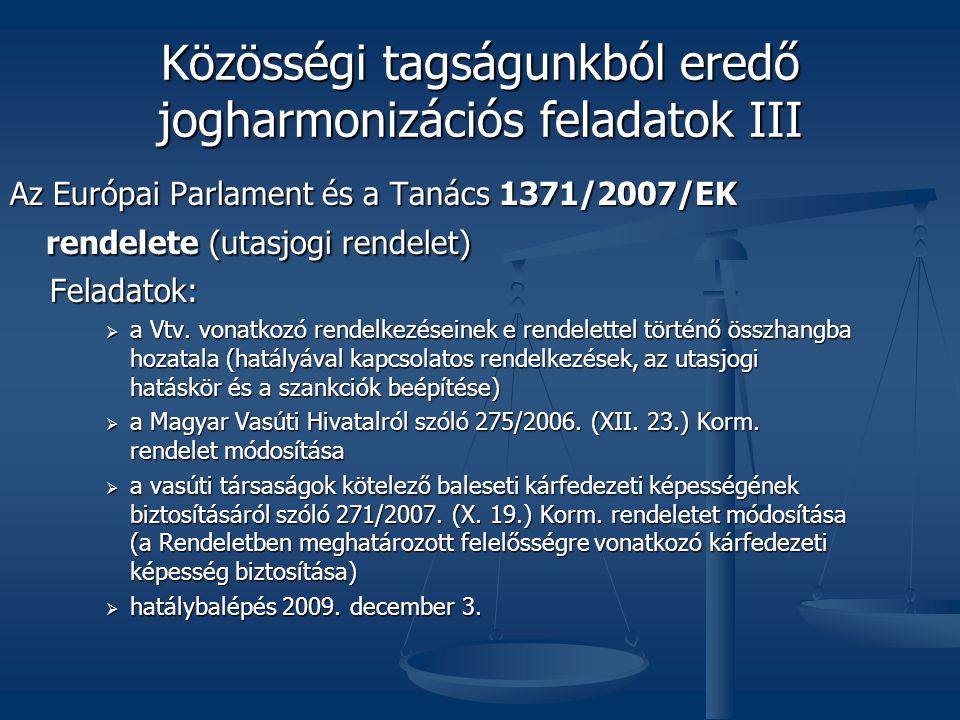 Közösségi tagságunkból eredő jogharmonizációs feladatok III