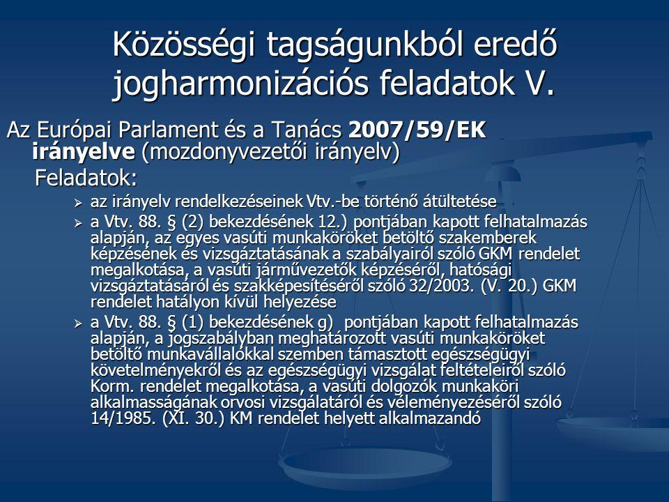 Közösségi tagságunkból eredő jogharmonizációs feladatok V.