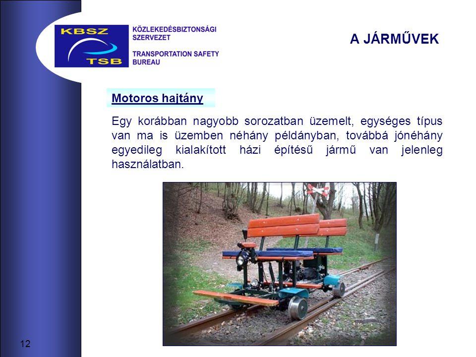 A JÁRMŰVEK Motoros hajtány