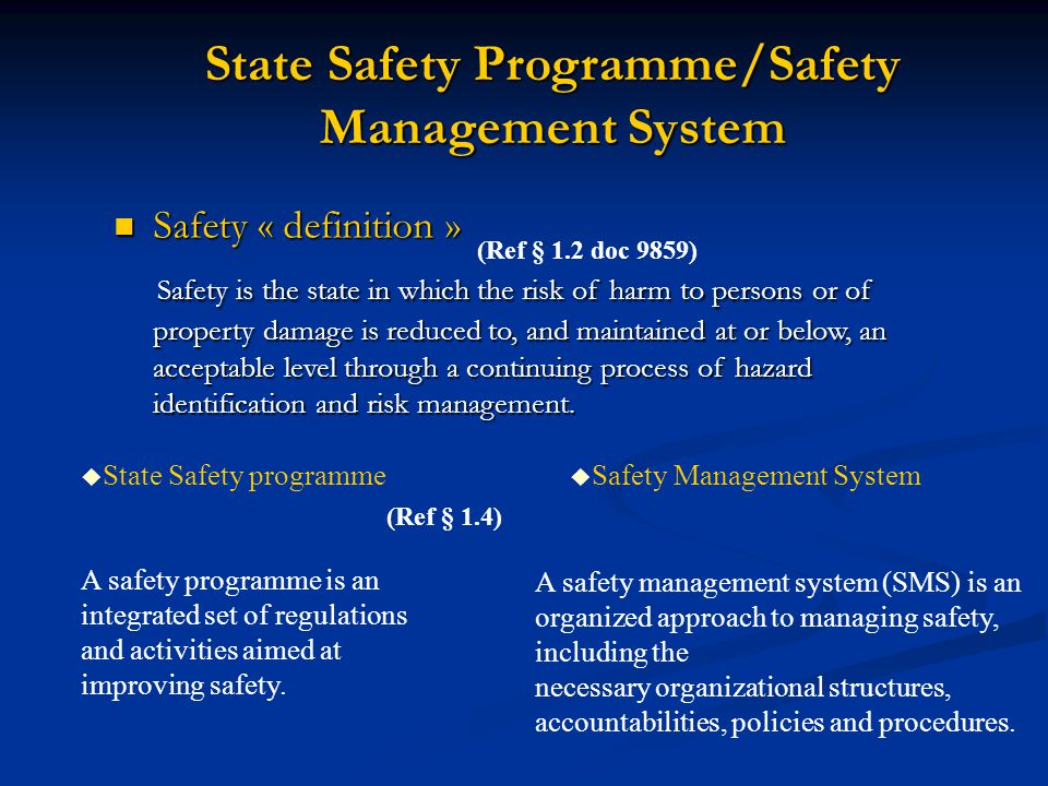State Safety Programme/Safety Management System