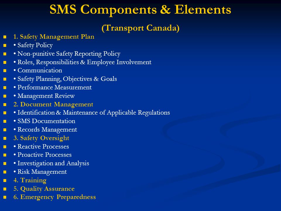 SMS Components & Elements (Transport Canada)