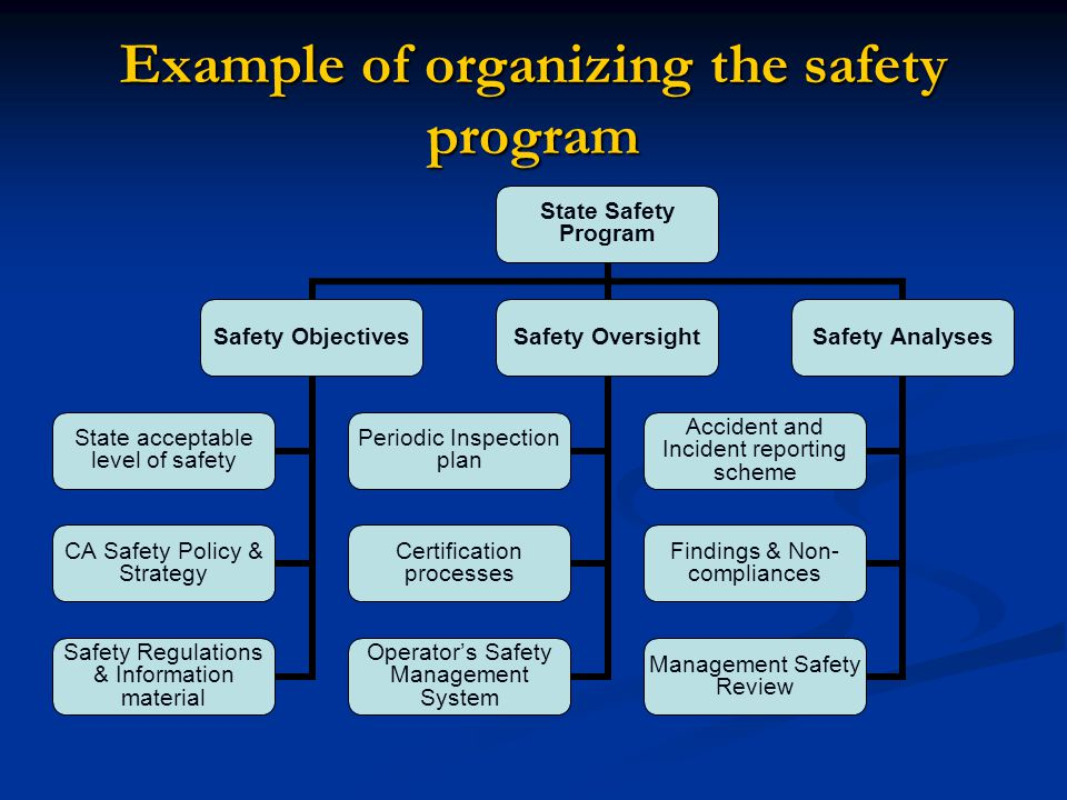 Example of organizing the safety program