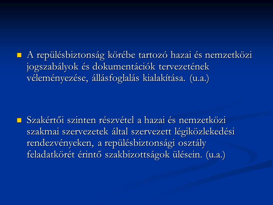 A repülésbiztonság körébe tartozó hazai és nemzetközi jogszabályok és dokumentációk tervezetének véleményezése, állásfoglalás kialakítása. (u.a.)