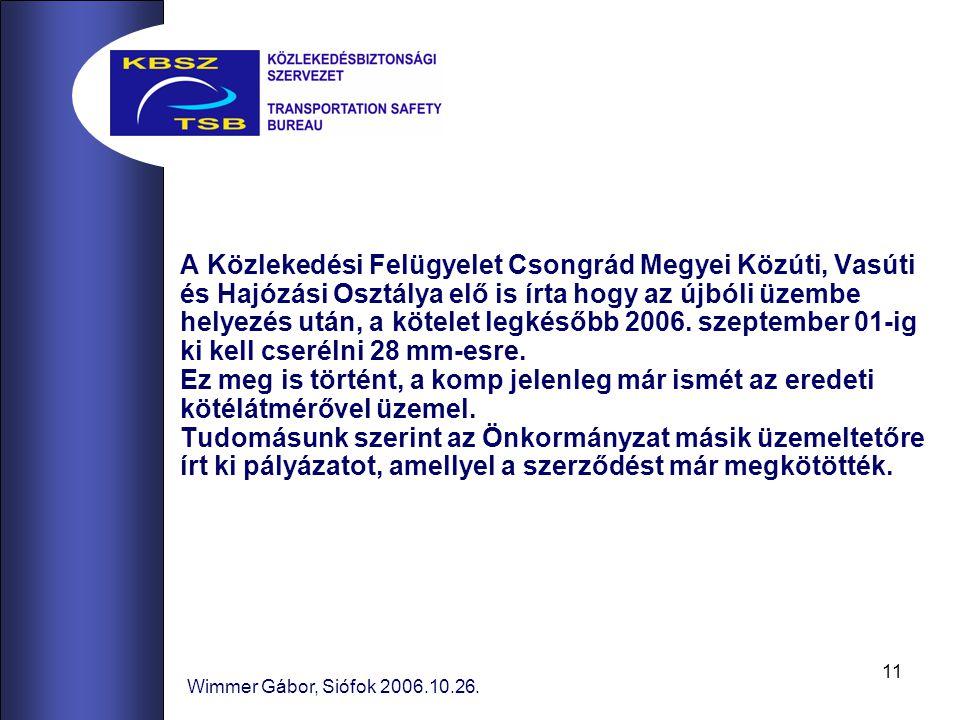 A Közlekedési Felügyelet Csongrád Megyei Közúti, Vasúti és Hajózási Osztálya elő is írta hogy az újbóli üzembe helyezés után, a kötelet legkésőbb 2006. szeptember 01-ig ki kell cserélni 28 mm-esre.