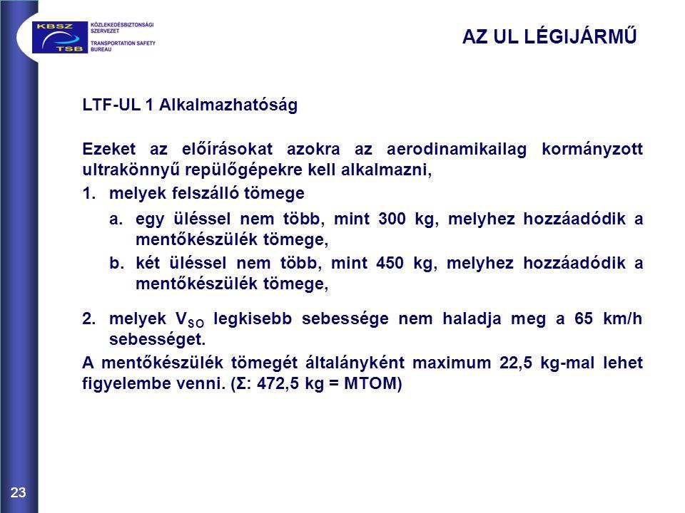 AZ UL LÉGIJÁRMŰ LTF-UL 1 Alkalmazhatóság