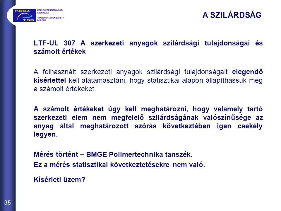 A SZILÁRDSÁG LTF-UL 307 A szerkezeti anyagok szilárdsági tulajdonságai és számolt értékek.