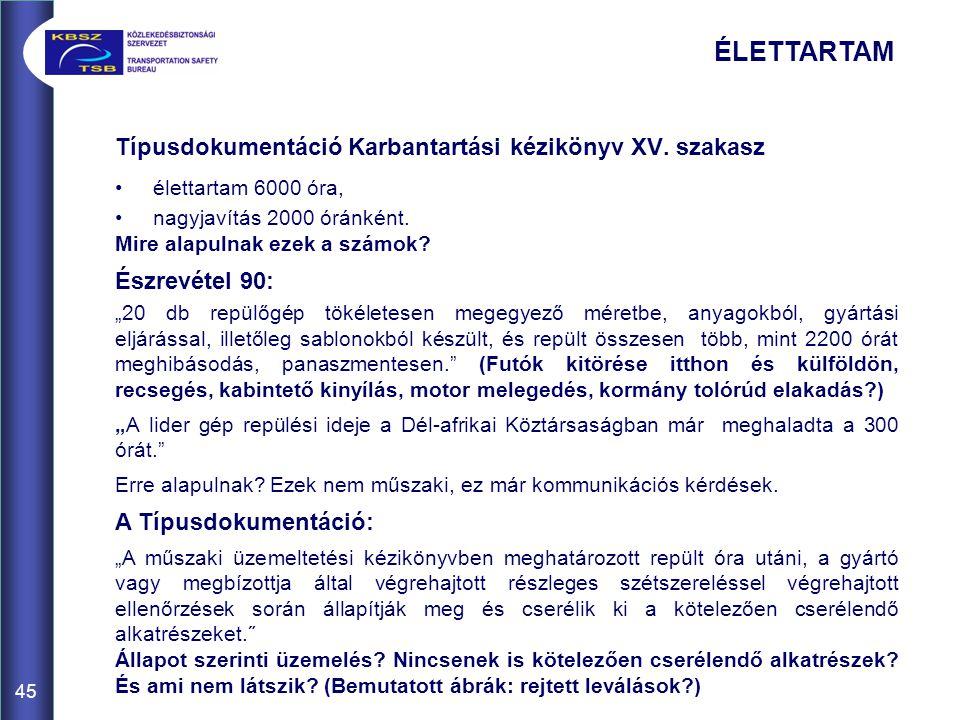 ÉLETTARTAM Típusdokumentáció Karbantartási kézikönyv XV. szakasz
