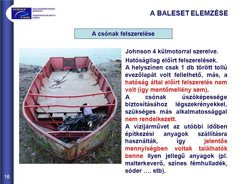 A BALESET ELEMZÉSE A csónak felszerelése