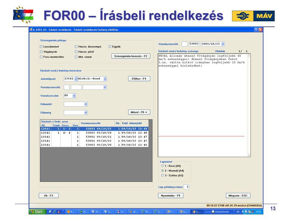 FOR00 – Írásbeli rendelkezés