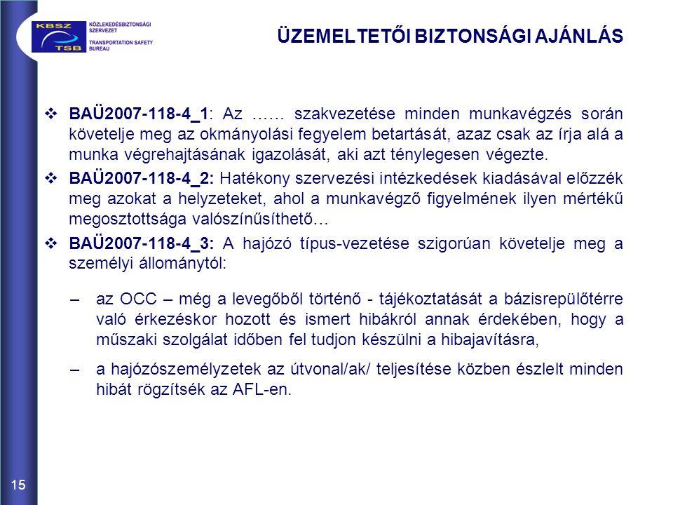 ÜZEMELTETŐI BIZTONSÁGI AJÁNLÁS
