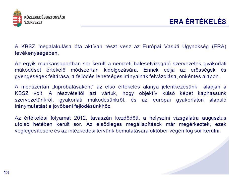 ERA ÉRTÉKELÉS A KBSZ megalakulása óta aktívan részt vesz az Európai Vasúti Ügynökség (ERA) tevékenységében.