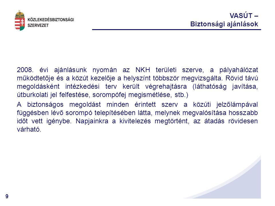 VASÚT – Biztonsági ajánlások.