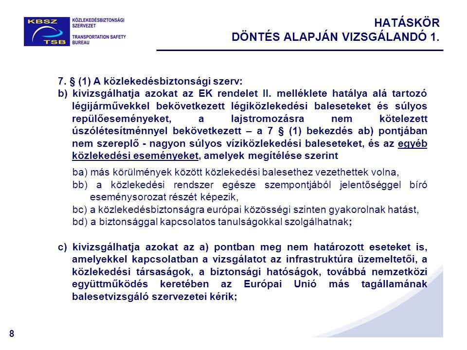 HATÁSKÖR DÖNTÉS ALAPJÁN VIZSGÁLANDÓ 1.