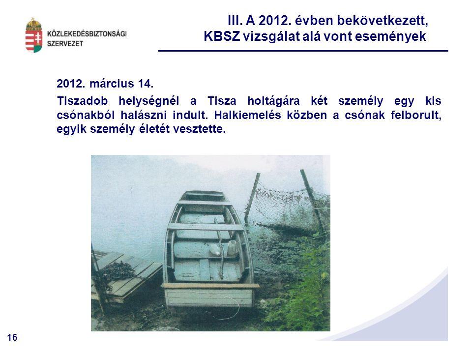 III. A 2012. évben bekövetkezett, KBSZ vizsgálat alá vont események