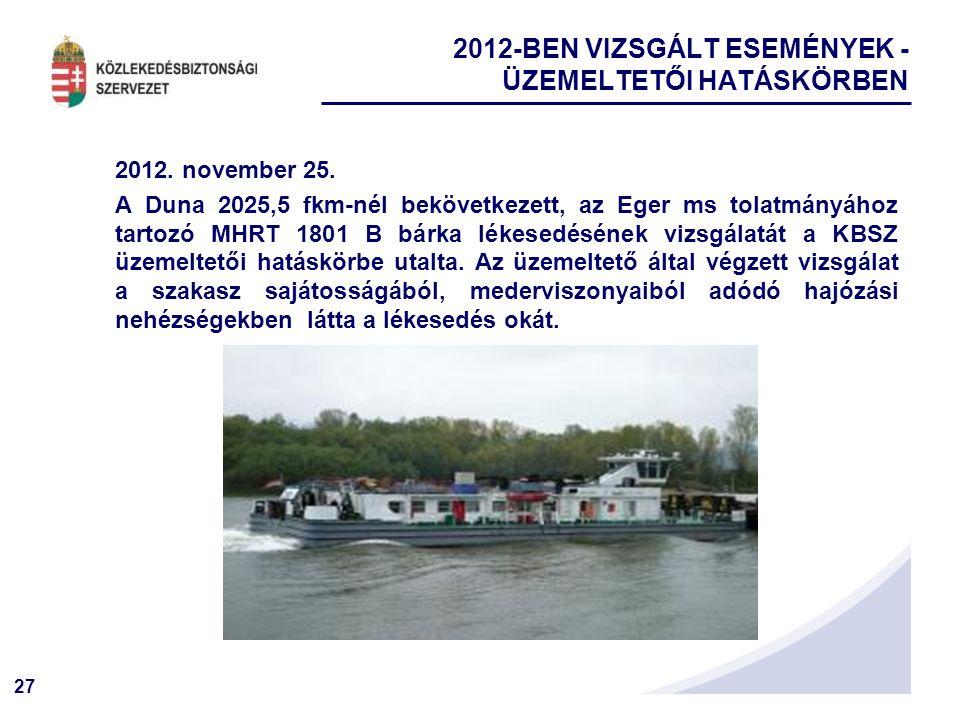 2012-BEN VIZSGÁLT ESEMÉNYEK - ÜZEMELTETŐI HATÁSKÖRBEN