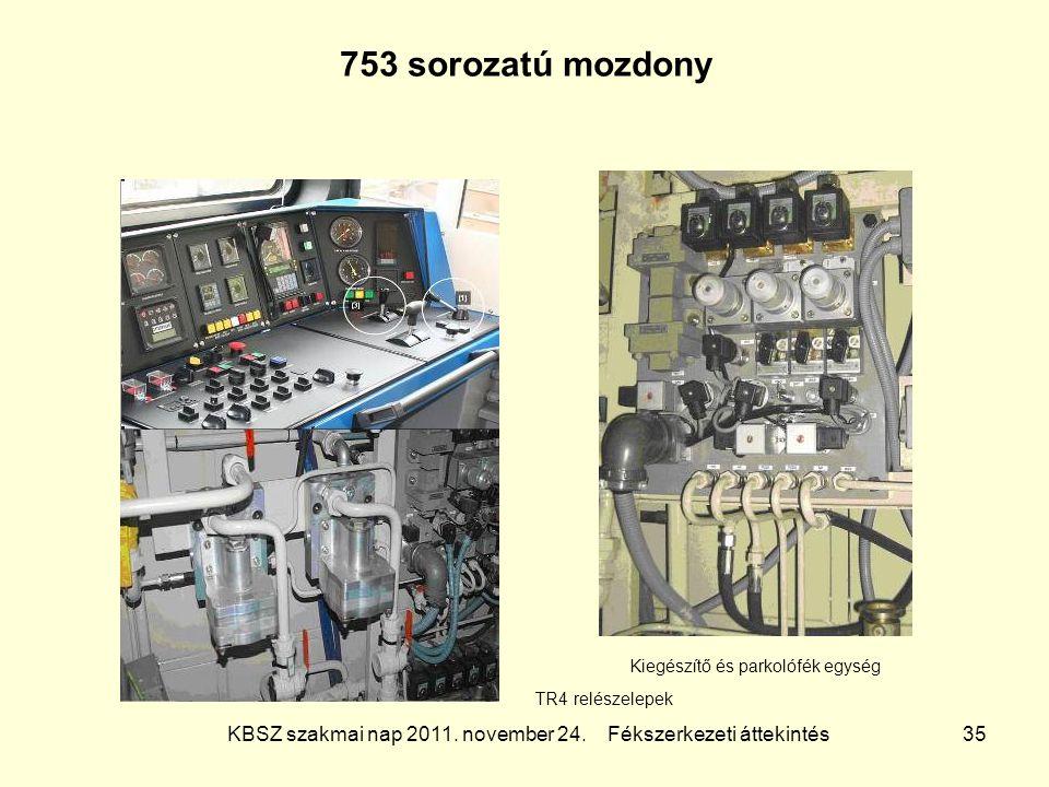 753 sorozatú mozdony Kiegészítő és parkolófék egység.